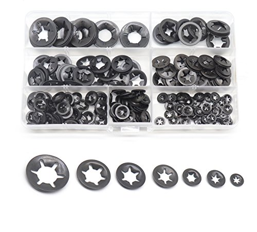cSeao 330pcs Black Starlock Internal Tooth Lock Washers Assortment Kit, Push on Washers, M3/ M4/ M5/ M6/ M8/ M10/ M12