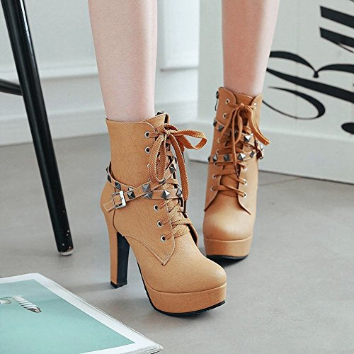 Short Yellow High Foot Platform Lace Up Boots Western Womens Heel Chukka Charm ZqxwP8q