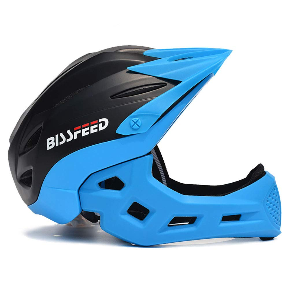 Blackbluee ZHYY Bike Helmet kid Full Covered Face predection Detachable Suitable for Balance Bike Cycling Motocross MTV BMX Breathable Safety Multicolor,blueegreen