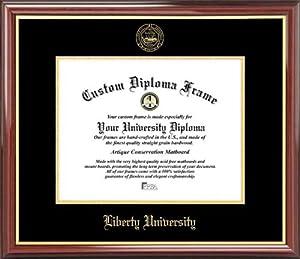 liberty university flames embossed seal mahogany gold trim diploma frame