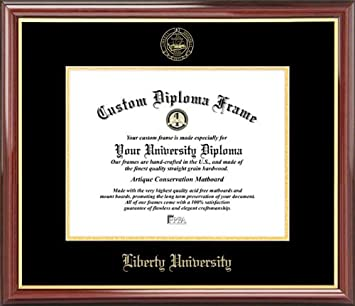 liberty university flames embossed seal mahogany gold trim diploma frame - Diploma Frame Size