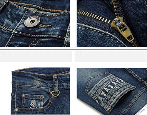 Uomo Teschi Slim Stampa In Elasticizzati Pantaloni Fit Ragazzo Blau Retrò Jeans Da Denim Comodi Con aXxqIwB5