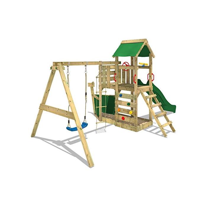 51e 6jX7gfL WICKEY Torre de escalade para niños con tobogán, columpio, escalera de cuerda y caja de arena Poste 9x4,5cm - Poste de columpio 9x9cm - Madera maciza impregnada a presión Calidad y seguridad aprobada - Instrucciones de montaje sencillas y detalladas - Made in Germany