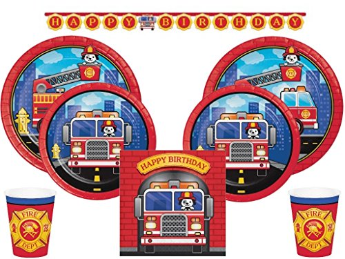 Puppy Dog Fire Truck Ultimate Tableware Party Supplies Kit 24 Guests (105 Pcs) -