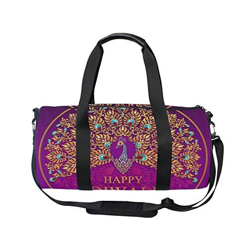 Cooper girl Happy Diwali Peacock Duffels Bag Travel Sport Gym Bag by ALAZA