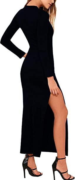 Womens Party Beach Vacation Solid Bodycon High Slit Long Maxi Dress