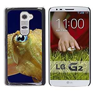 KOKO CASE / LG G2 D800 D802 D802TA D803 VS980 LS980 / fish blue eye golden ocean swim blue sea / Slim Black Plastic Case Cover Shell Armor