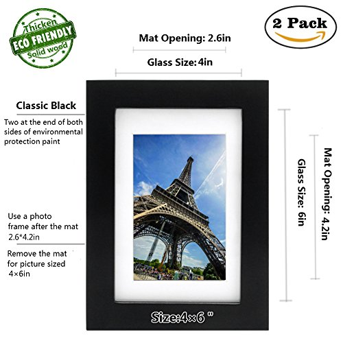 Picture Frame 2pack 4x6 inch Black,Anti-Corrosion Wood Photo Frame 4-side Painted with Modelling Effect Mat,Table Top & Wall Mounting Available - Hanging Hardware Included