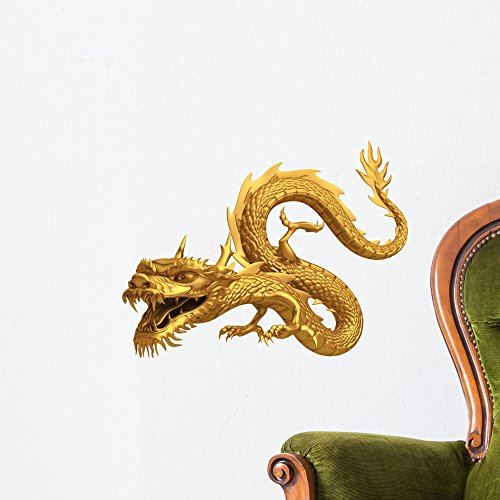 Wallmonkeys Golden Dragon Wall Decal Peel and Stick Animal Graphics (18 in H x 18 in W) ()