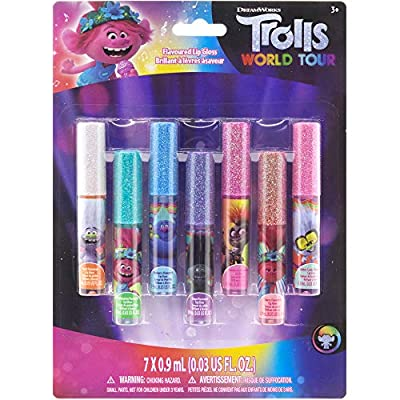Townley Girl Trolls World Tour Super Sparkly 7 Pack Party Favor Lip Gloss, 7 CT : Beauty