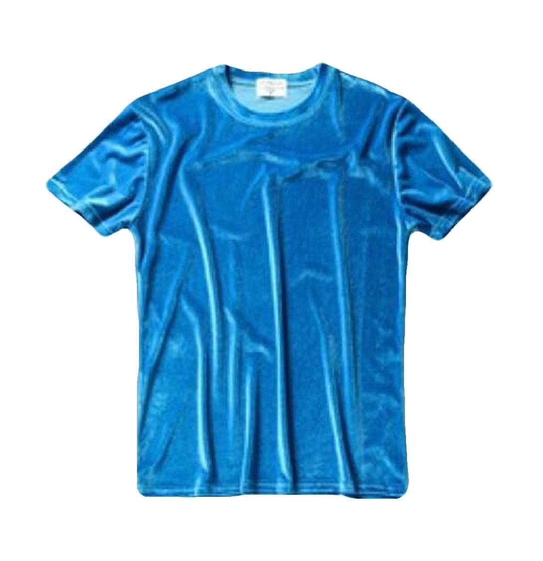 Twcx Mens Crew Neck Velour Short Sleeve Solid T-Shirt Tee Top