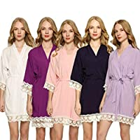 Cotton Robe with Lace Trim Gift for Women Bridesmaid Girlfriend Wife