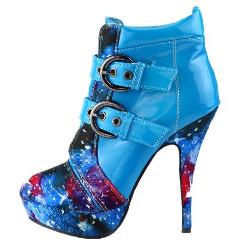 plateforme à LF30301 boucles Show Bleu aiguille talon Story et Boots avec haut q8q4Utw