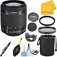 Canon EF-S 18-55mm f/3.5-5.6 IS STM Zoom (White Box Packaging) 33rd Street Lens Bundle for Canon SLR Cameras