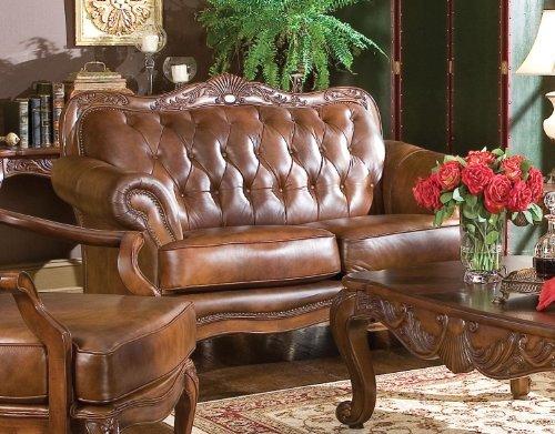 - Coaster Victoria Traditional Tri-Tone Button Tufted Love Seat