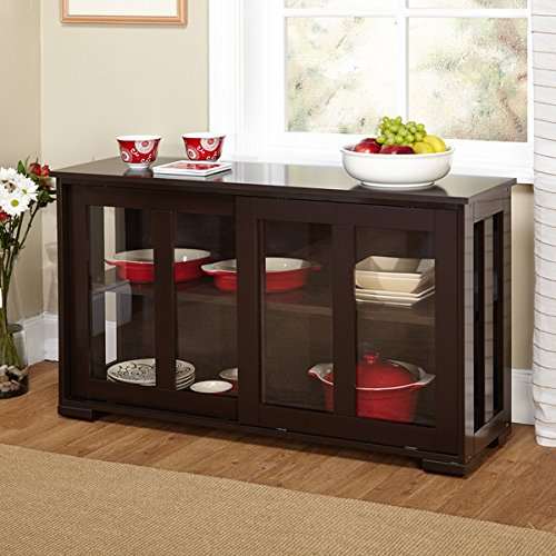 Simple Living Engineered Wood Tempered Glass Sliding Door Stackable Cabinet Espresso Finish by Simple Living Products
