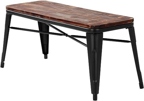 iKayaa 2 Seater Dining Bench Chair Natural Pinewood Top Metal Frame Patio Garden Bench Furniture