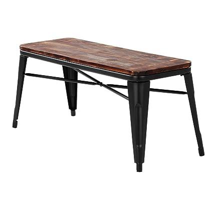 Amazon.com - iKayaa 2 Seater Dining Bench Chair Natural Pinewood Top ...