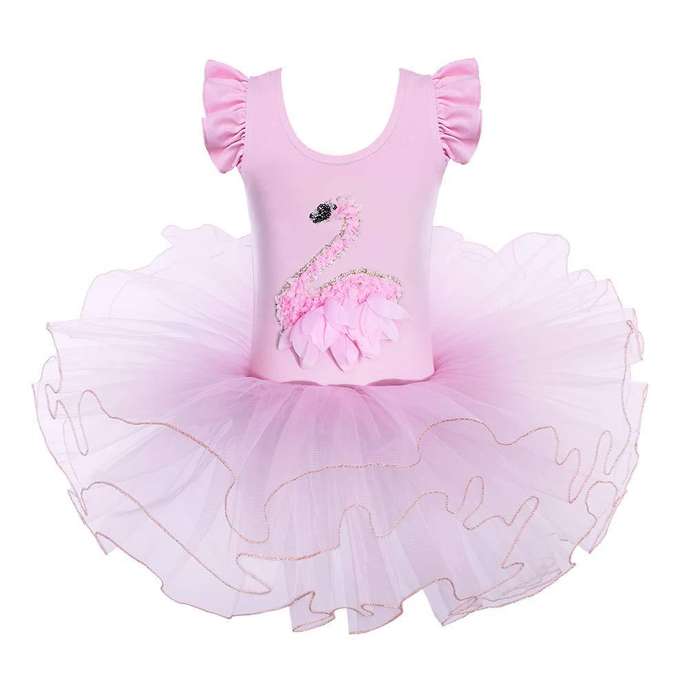 キッズ ワンピース 半袖 キラキララインストーン ダンスコスチューム チュチュバレエドレス 小さな女の子用 38歳 B07J5PFZ5C 5-6 Years|Gold Pink Gold Pink 5-6 Years