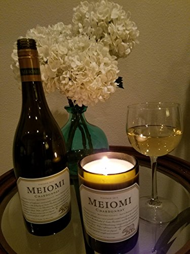 Meiomi Chardonnay Wine recycled wine bottle, 12 oz White Soy Wax Candle, Relaxing Lavender Scent, HAND MADE IN THE USA. FREE UPGRADE TO EXPEDITED SHIPPING!