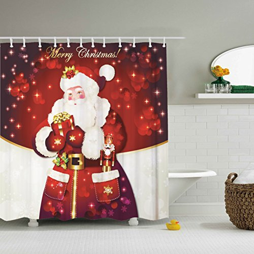 Santa Claus Shower Curtain- ZBLX Waterproof Mildew Resistant Fabric Polyester 100% Shower Curtain. (Red claus,60