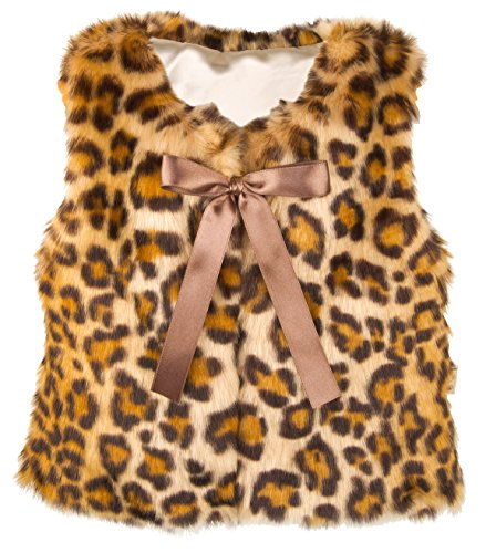 Lilax Little Girls' Leopard Faux Fur Vest 4T (Leopard Print Halloween Tutorial)