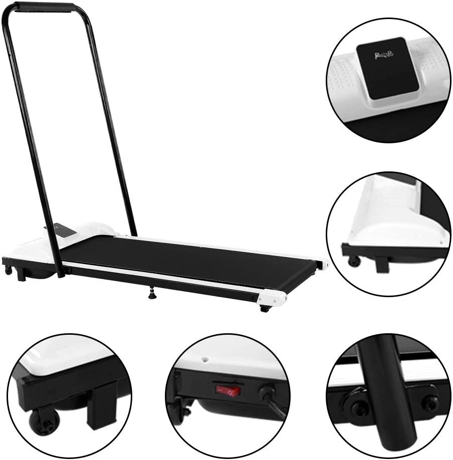 Fitness Treadpad Flat Treadmill Walking Jogging Machine for Home Gym Office Portable Installation-Free Under Desk Electric Treadmill with Remote Control White Leikf 2 in 1 Folding Treadmill