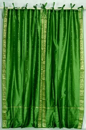 Indian Selections Forest Green Tie Top Sheer Sari Curtain/Drape/Panel