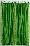Lined-Forest Green Tie Top Sheer Sari Curtain / Drape – 60W x 84L – Pair For Sale