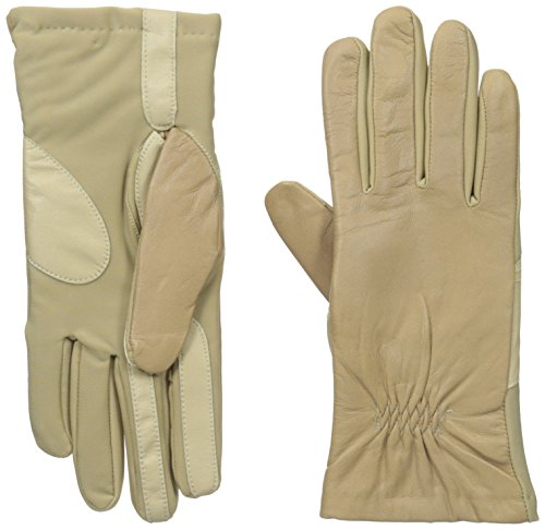 - Isotoner Women's Smartouch Stretch Leather Glove with Partial Back Gather, Camel X-Large
