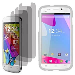 BJ Shield Cover Snap On Case for AT&T, T-Mobile, H2O, Net 10 Blu Life One x3 Fitted Screen Protector-White