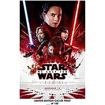 RARE POSTER thick mark hamill STAR WARS: THE LAST JEDI daisy ridley 2017 movie REPRINT #'d/100!! 12x18
