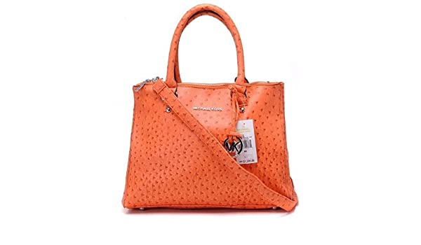 a22a1276558b Amazon.com : Michael Kors Hamilton Ostrich Skin Orange : Cosmetic Tote Bags  : Beauty