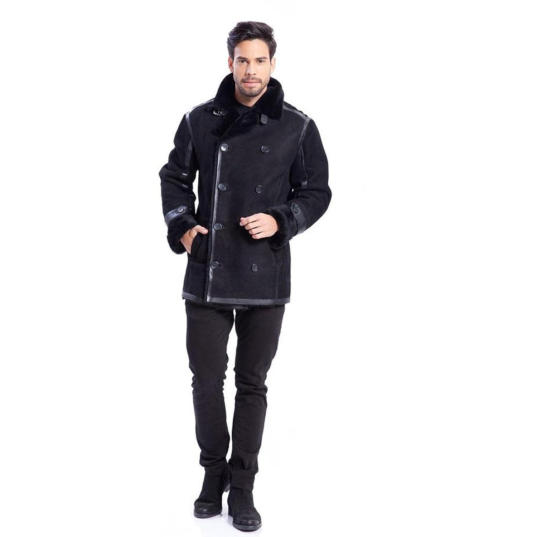 新しいスタイルメンズレザージャケットとファーライニングb3アビエイタージャケットハンサムファッションダブルブレストコート (ブラック, M) B07DHDCZN9