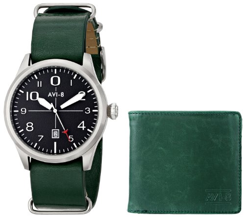 AVI-8 Men's AV-SET2-06 FlyBoy Analog Display Japanese Quartz Green Watch Set