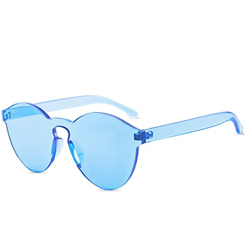 068d8bd1a47 One Piece Rimless Sunglasses Transparent Candy Color Tinted Eyewear (1-Ice  blue)