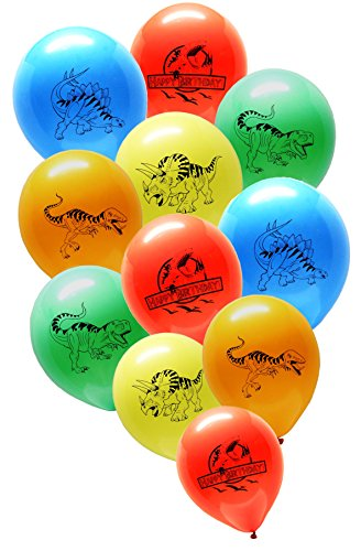 Dinosaur World Jurassic Style Birthday Balloons - Party Pack - 25 Large 12