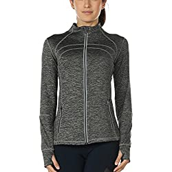 icyzone Women's Running Shirt Full Zip Workout Track Jacket with Thumb Holes (M, Charcoal)