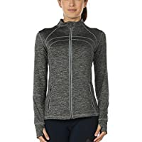 icyzone Women's Running Shirt Full Zip Workout Track Jacket with Thumb Holes