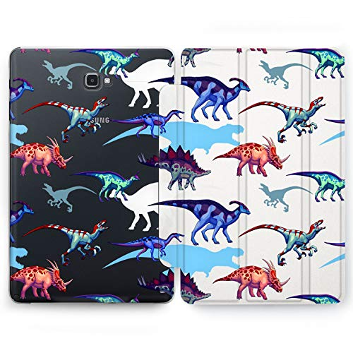 Wonder Wild Colorful Dinosaurs Samsung Galaxy Tab S4 S2 S3 A Smart Stand Case 2015 2016 2017 2018 Tablet Cover 8 9.6 9.7 10 10.1 10.5 Inch Clear Ancient Creatures Dino Dyno Colorful Kids Raptor Roar -
