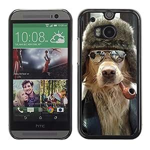iKiki-Tech Estuche rígido para HTC One M8 - Cool Dog, Pipe & Sunglasses