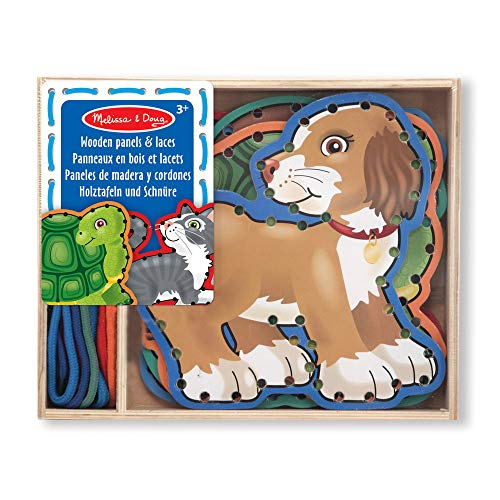 Trace Panels - Melissa & Doug Lace and Trace Activity Set: Pets - 5 Wooden Panels and 5 Matching Laces