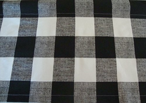 Check Decorator Fabric (Valance Black and White Buffalo Check Custom Made Window Treatment)