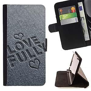 BullDog Case - FOR/Sony Xperia Z2 D6502 / - / LOVE FULLY /- Monedero de cuero de la PU Llevar cubierta de la caja con el ID Credit Card Slots Flip funda de cuer