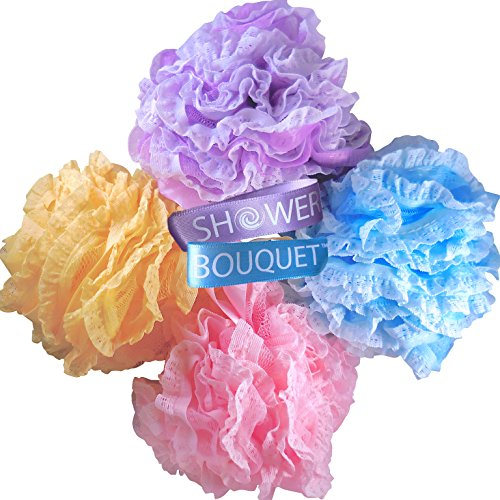 Loofah Bath Sponge Large Lace Set by Shower Bouquet: Mesh Pouf - Full 60g (4 Pack, 4 Colors) Body Luffa Loofa Loufa Puff Scrubber - Exfoliate, Cleanse, Soothe Skin with Luxurious Bathing Accessories ()