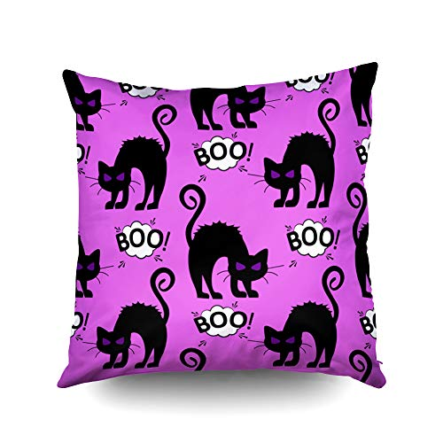 Capsceoll Halloween Abstract Halloween cat Pattern Decorative Throw Pillow Case 18X18Inch,Home Decoration Pillowcase Zippered Pillow Covers Cushion Cover with Words for Book Lover Worm Sofa Couch