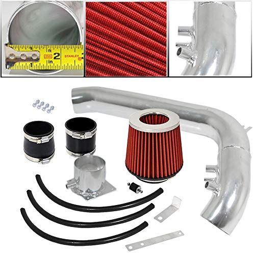 For 1991-1994 Nissan 240SX S13 DOHC (2.4L KA24DE Engines) 2.75 Inch Aluminum High Flow Cold Air Intake System Black Pipe with Air Filter Red ()