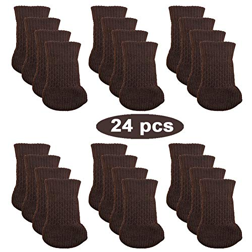 24pcs Chair Legs Socks, Knitted Furniture Leg Floor Protectors, Chair Feet Covers for Bar Stool, Dinning Chairs or Table, Protect Hardwood Floors from Scratches and Reduce Noise (Brown) ()