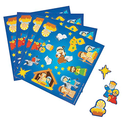 Nativity Christmas Sticker Treat Pack - 50 Individual Sheets -