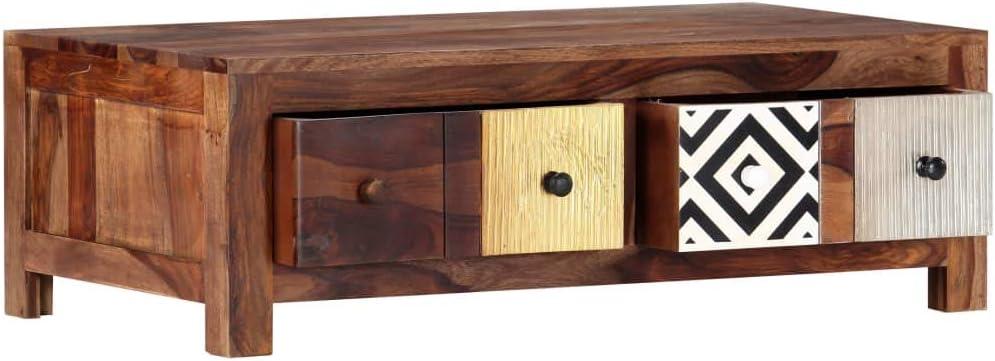 Table Basse relevable Festnight Table de Salon Bout de canap/é Table Basse 90 x 50 x 30 cm Bois de Sesham Massif pour Salon
